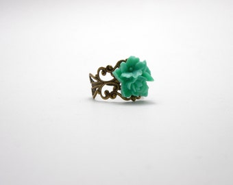 Green and Bronze Ring, Adjustable Filigree Ring, Teal Green Flower Ring