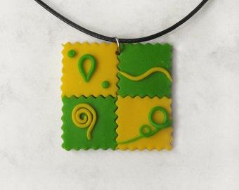 Mosaic necklace, Colorful necklace, Polymer clay pendant, Swirls jewelry, Mosaic jewelry, Neon jewelry, Modern jewelry, Abstract jewelry