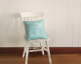 Dear Deer in Seafoam Blue, Cushion Cover Pillow Slip | Made to Order | Ships in 4-6 weeks