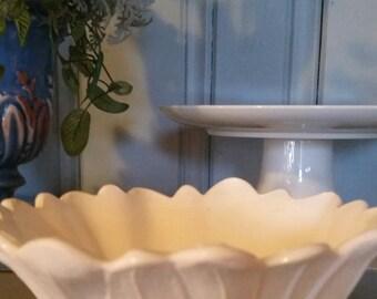 Milk Glass Flower Bowl, Vintage Bowl