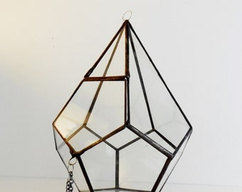 Large Hanging Terrarium, Glass Terrarium With A Hinged Door, Geometric Teardrop Shape Plant holder.