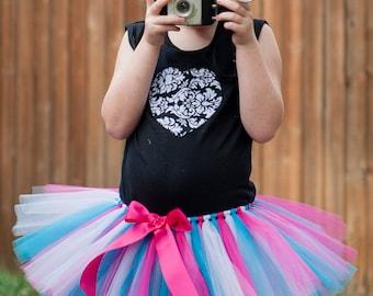 Turquoise, White & Pink tutu 'Photo Punks' girls tutu skirt children's tutu photo prop birthday tutu turquoise tutu pink tutu 5 6 7 8 10 12