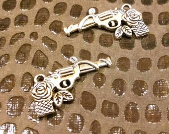 2 silver tone Pistol Charms / Jewelry Supply / Western Findings / gun roses charm / assemblage / mixed media / altered art / craft supplies