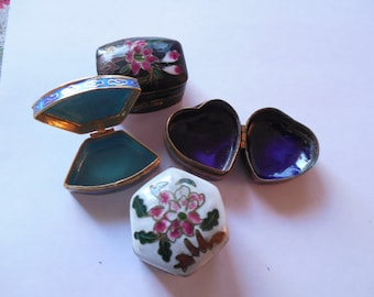 three  vintage different cloisonne pill or gift boxes. 5.00 Each