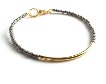 Gunmetal Gold Bar Bracelet, Beaded Friendship Bracelet, Dainty Beaded Bracelet, Tiny Bead Bracelet, Gold Friendship Bracelet, Thin Bracelet