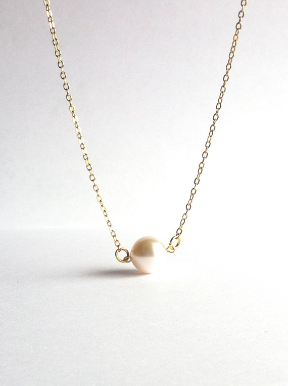 dainty pearl necklace thin gold necklace floating by