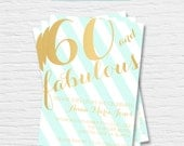 Women's Birthday Invitation - 5x7 - 40th, 50th, 60th, 70th, 80th - Stripes - Gold Foil - Feminine -  Digital Printable File - Cardstock