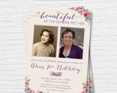 Women's Birthday Invitation - 5x7 - 40th, 50th, 60th, 70th, 80th, 90th - Photo Card - Floral -  Digital Printable File - Cardstock