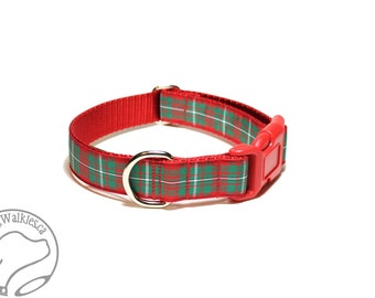 "MacGregor Clan Tartan - 1"" (25mm) Wide - Plaid Dog Collar - Red and Green - Martingale or Side Release - Choice of collar style and size"