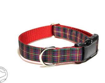 "Cameron Clan Tartan - 1"" (25mm) Wide - Cameron of Erracht Plaid Dog Collar - Martingale or Side Release - Choice of collar style and size"