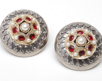 Vintage Pearl and Red Stone Two-Tone Metal Disk Clip Earrings