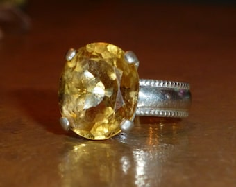 Handcrafted Size 6 3/4 Sunny Yellow Citrine & Sterling Silver Ring