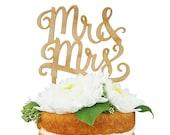 Mr. & Mrs. Cherry Wood Cake Topper