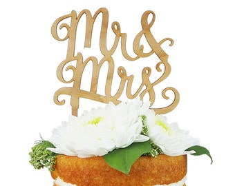 Mr. & Mrs. Cherry Wood Cake Topper