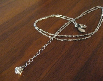 Vintage silver chain ball necklace.  Rhinestone.  Signed.