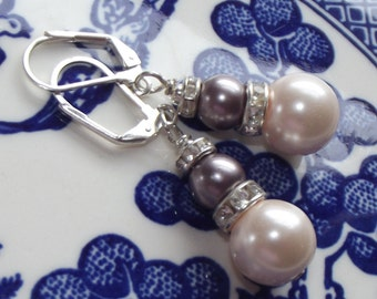 Wire Wrapped Cream Glass Taupe Pearl Silver Plated Leverback Earrings Free US Shipping Gift Boxed