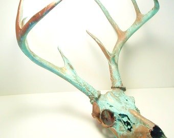 Copper Natural Patina Deer Skull Antlers Art Sculpture
