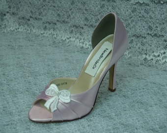 Pretty Pink Bridal Pink Shoes more colors with lace bow and glass pearl center, peep toe, closed ankle, ivory rustic bow, baby pink heels