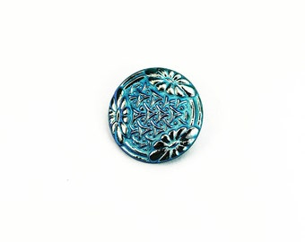 27mm Teal Blue Czech Glass Flower Button with Gold Flowers, Pendant, Cabochon, Jewelry Supply, Sewing