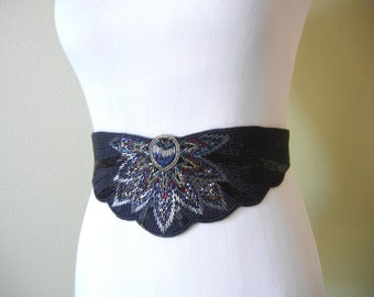 SALE! Vintage 1980's Beaded Iridescent  Belt