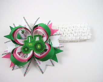 Tractor Hair Bow OR Headband - Pink and Green Hair Clip - Silly Boys Tractors Are For Girls - Pink and Green Headband - Tractor Headband
