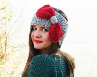 Ruby Knitted Bow Headband, Knitted Headband, Oversized Bow Headband, Cute and Cosy Ear Warmer Winter Headband, Hair Coverings