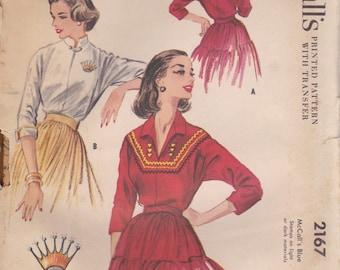 1950s Vintage Blouse Pattern McCalls 2167 Size 12 Uncut