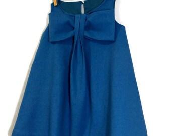 Toddler Dress, Girls Dress, Big Bow Dress, Flower Girl Dress, Linen Dress, Ocean Blue Dress, Summer Dress, Spring Dress, Toddler Flower Girl
