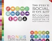 HUGE 700 Social Media Icon Package - Stitched Blog Button Icons - Transparent Round Network Buttons Including Instagram Icon, Twitter Icon