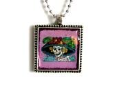 Day of the Dead- Pendant Necklace- La Catrina- Purple. Lilac, Lavender