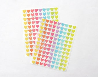 Mini Heart Stickers, Pastel/Colorful/Multicolor Heart Stickers, Paper Heart Sticker, Size 12mm, Set of 2 sheets or 216 hearts