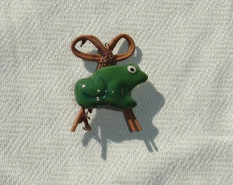 Upcycled Frog & Grapevine Bow Brooch - OOAK - Spring Jewelry - Spring Accessories