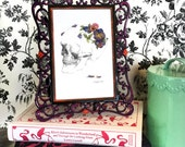 Pansy For Your Thoughts- painting, art, anatomy, skull, floral