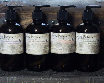 Natural Beard and Body Wash - organic essential oils - liquid soap - mens face wash soap - castile soap