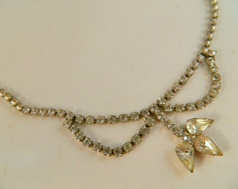 Clear Rhinestone Necklace / Vintage 1950s Choker Necklace / Bridal Jewelry / Prom Necklace