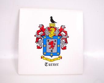 Vintage Royal Coat of Arms Crest Ceramic Tile TURNER Family Plaque Trivet Wall Hanging