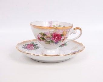 Vintage Lefton Pink Rose Teacup Saucer Hand Painted Made in Japan Brushed Gold White Porcelain Lefton China Tea Cup