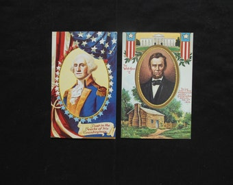George Washington and Abraham Lincoln Presidential Postcards Reproduction Birthday Cards