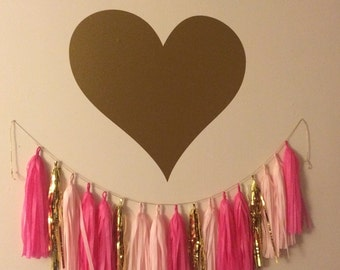Heart Wall Decal Large Gold Heart Decal Girls Nursery Bedroom Decal Trendy Metallic Gold Wall Decal Heart Vinyl Decal Housewares Teen Girls