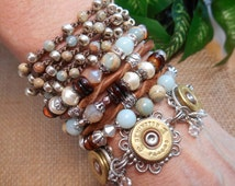 Bullet Jewelry ~ Amazonite ~ Aqua Terra Jasper ~ Snail Pearls ~ Twisted Leather Five Strand Boho Cowgirl Bracelet
