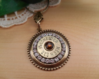 Bullet Jewelry ~ 223 Winchester Super Short Magnum ~ Rifle Casing Rhinestone Necklace