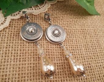 Shotgun Shell Jewelry ~ 20 Gauge ~ Swarovski Crystal Earrings ~ Made in USA