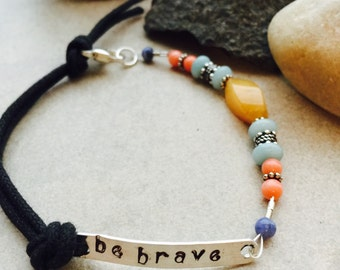 "Gemstone Beaded Handcrafted Bracelet with Inspirational Sterling Silver Tag ""be brave"""