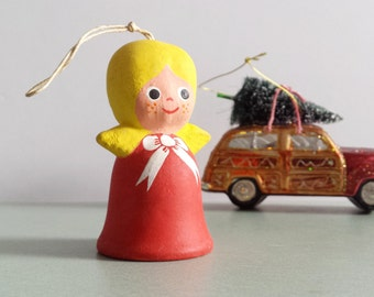 Christmas Angel Bell /  Nordic Girl Bell / Vintage Bisque Bell / Angel Bell Ornament / Small Bell
