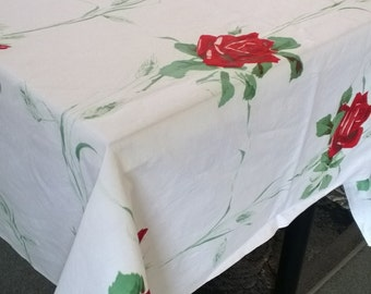 Vintage Printed Red Rose Tablecloth, 1950s 54 inch square