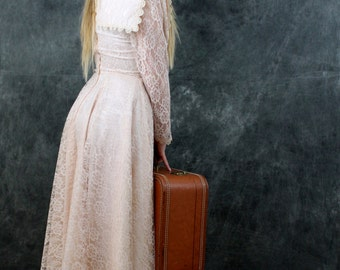 Vintage Gunne Sax Lace Victorian Wedding Dress Jessica McClinton Small Edwardian Style Hint of PINK