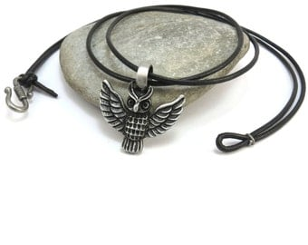 Owl Necklace, Silver Owl Pendant with Leather Cord - Silver Bird Jewelry