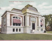 "Ca. 1910 ""Free Library"" Dunkirk, NY Topographical Picture Postcard - 1725"