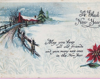 Ca. 1920s New Year Greetings Postcard w/ Poinsettia & Pastoral Winter Scene - 393