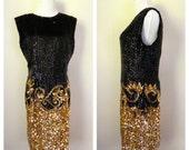 Vintage 1980's Silk Beaded Dress / Black Gold Beaded Dress Size M/L